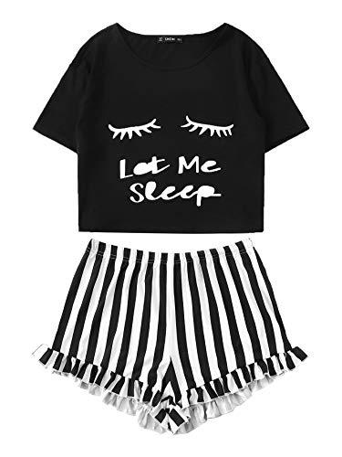 DIDK Damen Kurz Schlafanzug mit Slogan Pyjama Set Streifenhose Hausanzug Sommer Sleepwear Schwarz M