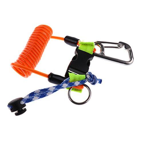 Homyl Lanyard mit Karabiner, als Unterwasser Tauchen Kamera Handschlaufe, Spiralkabel Spring Coil Seil, Angelsport Werkzeug Sicherungsleine, Schlüsselband, Schlüsselanhänger - Orange