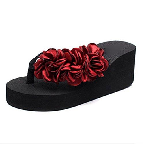 pengweiSandali delle signore Fashion Flower Beach pattini pattino antiscivolo pattini high heel 1