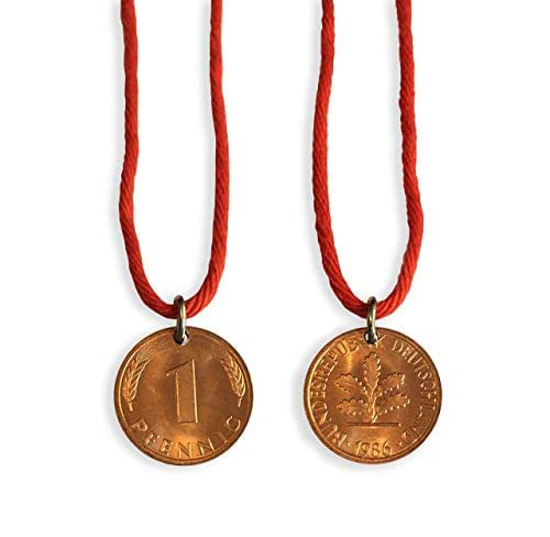 Dark Netflix - Pendente con Pfennig del1986 - Collana serie Netflix - Saint St. Christopherus - per uomo donna - moneta - filo rosso - made in Germany