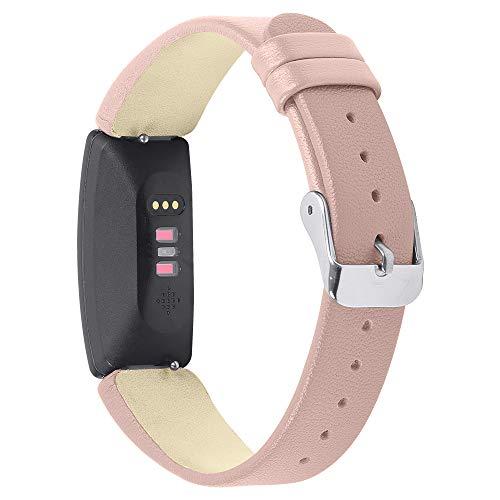 Ruentech Für Fitbit Inspire HR/Inspire Strap Band Lederarmband Ersatz Inspire HR/Inspire Activity Tracker Uhrenarmband Armbänder Frauen Männer (B-pink)