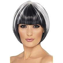 Smiffys Smiffys-42232 Peluca de Corte Bob Peculiar, con iluminaciones Blancas Color Negro Tamaño