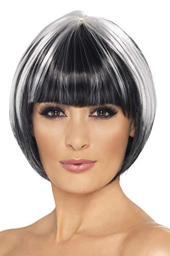 Mit Schwarzen Ideen Kostüm Perücken - Smiffys, Damen Bob Perücke, One Size, Schwarz mit weißen Strähnen, 42232