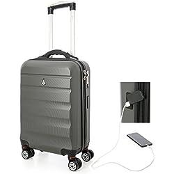 Aerolite Maleta SMART con Puerto USB para Cargar el Teléfono, Candado Bluetooth TSA y Báscula Incorporados para iOS y Android ABS Equipaje de mano cabina rígida ligera con 4 ruedas (Gris Oscuro)