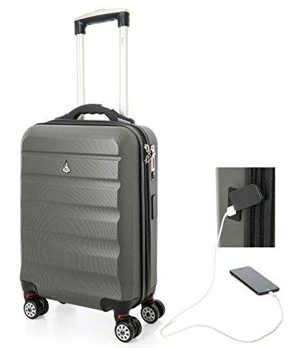 Aerolite - SMART Trolley con porta USB per ricarica smartphone + lucchetto TSA + bilancia integrata - Bagaglio a mano rigido e anti-graffio con 4 ruote (Ryanair, EasyJet, WizzAir, Alitalia, etc.)