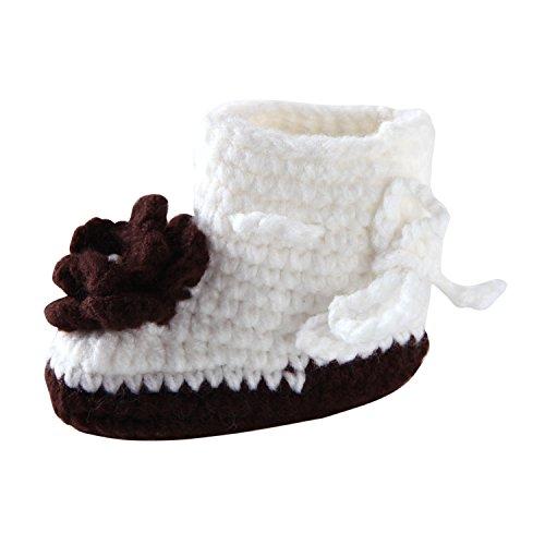 CHIC-CHIC Baby Strick Schuhe Blumen Säugling Prewalker Krabbelschuhe Krippe Warm Steifel Winter Weich Soft Lauflernschuhe 3-12 Monate (Rosa) Weiß