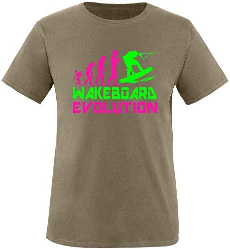EZYshirt® Wakeboard Evolution Herren Rundhals T-Shirt Olive/Pink/Neongr
