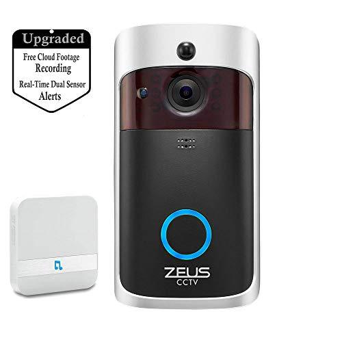 ZEUS-CCTV Smart-Video-Türklingel WiFi-IP-Kamera, verbesserte drahtlose 2-Wege-Audio-Technologie für 720P-Nachtsicht in Echtzeit mit kostenlosem Cloud-Speicher und Heat-Base-PIR-Bewegungserkennung Wifi Video Kamera