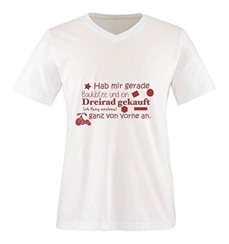 Comedy Shirts - Hab mir gerade Bauklötze und EIN Dreirad gekauft. - Herren V-Neck T-Shirt - Weiss/Rot Gr. XXL