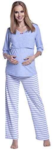 Happy Mama. Damen Umstandspyjama Stillfunktion. Stillschlafanzug 3/4-arm. 394p Hellblau