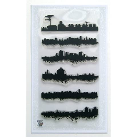 Ciudad Paisajes Fronteras 01 // Sellos di Silicona Clear Stamps Pack (10x18 cm) FLONZ