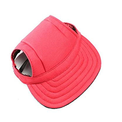 WINOMO Pet Dog Sports Hat Pet Dog Oxford Fabric Hat Sports Baseball Cap with Ear Holes for Small Dogs - Size M (Red) 1