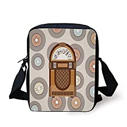 Jukebox,Pick Up Music with Vintage Abstract Long Players Backdrop,Brown Light Coffee Grey and Peach Print Kids Crossbody Messenger Bag Purse
