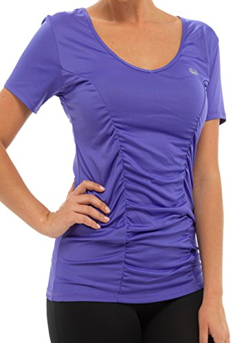 Mesdames Gym ou Sport Fitness Mix et Match de haut et bas noir avec petit bleu violet ou rose en taille M ou L Violet - T-Shirt-Purple