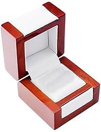 EYS JEWELRY® Schmuck-Etui für Ring 60 x 60 x 50 mm Holz braun Ring-Box Schachtel Schatulle Geschenk-Verpackung EYSBOX