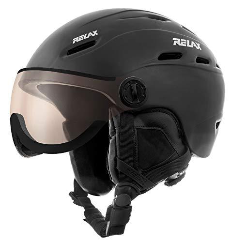 Relax Skihelm Prevail mit Visier | Snowboardhelm | Skihelmet | Race-Helm für Damen und Herren (schwarz, XL (60-62 cm))