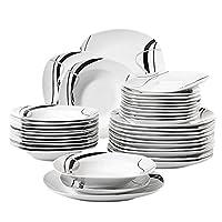 Couleur: Blanc + Lignes noires Sûr et sain - Fabriqué en fine porcelaine, non toxique, conforme aux normes de la FDA certifié, exempt de plomb et de cadmium, mieux pour la santé par rapport aux vaisselles plastiques. Durable et Robuste - Cuit en haut...