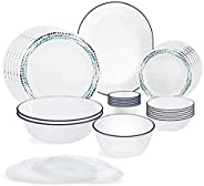 Corelle Livingware Series Ocean Blues Vitrelle Glass Dinner Set - Set of 30
