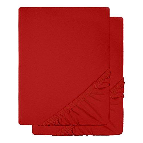 Baby-Spannbettlaken 2er-Set Jersey Baumwolle | viele Farben einzeln oder im Set | Spannbetttuch Doppelpack für Kindermatratzen | 60 x 120 bis 70 x 140 cm CelinaTex 0004506 Lucina Minis bordeaux