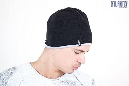 SCOTT Nero-Grigio BEANIE HAT cuffia cappello double face 100% Cotone+100% Polar Fleece Pile
