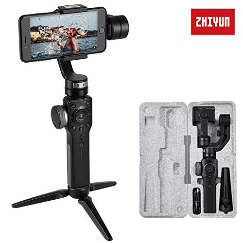 Zhiyun Smooth 4 (Última Versión) Estabilizador para Moviles, 3 Ejes Estabilizador Gimbal para Smartphone iPhone, Samsung. Huawei, GoPro Hero 6/5/4/3, Color Negro