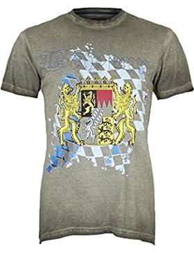 Herren Krüger Herren T-Shirt mit Bayern-Wappen, Braun,