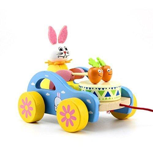 UChic 1 STÜCKE Ziehen Warenkorb Holz Nettes Kind Kaninchen Beating Trommel Pädagogisches Spielzeug für Kinder Kleinkind Lustige Für Kind Spielen -