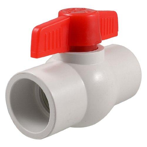 sourcingmap® Amico Kugelhahn, PVC, Steckanschluss 40x40mm, Schließen und Öffnen durch 1/4-Drehung, Weiß/Rot (1/4 Pvc-slip)