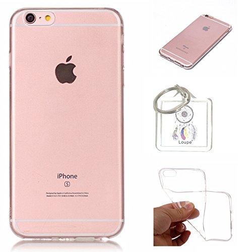 Preisvergleich Produktbild Hülle iPhone 6S (4,7 Zoll) Hülle Soft Flex Transparent Silikon TPU Handyhülle Schutzhülle für iPhone 6S (4,7 Zoll) Case Cover - Crystal Clear + Schlüsselanhänger (P) (1)