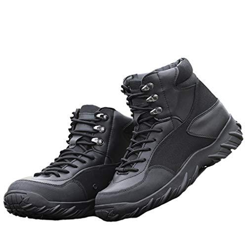 GOAIJFEN Mens Fashion Military Boots leichte Taktische Stiefel Outdoor Combat Boot atmungsaktiv klobige Schnürstiefeletten Wüste Camo Biker Army Combat Military Calf Boots Schuhe Größe,Black-42 -