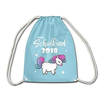 Spreadshirt Einschulung Stolzes Einhorn Schulkind 2018 Turnbeutel, Aqua
