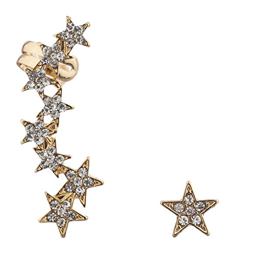 LUX Zubehör Gold Ton Pavé Stein Edgy Star ear Celestial Crawler Ohr (Zoll Für Halloween Frauen)