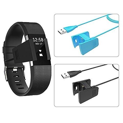 WisFox 2Pcs Fitbit Charge 2 Chargeur, [Longueur supplémentaire] Chargeur pour Fitbit Charge 2 TPU Protecteur D'écran 0.55M et 1M Câble de rechange pour câble de recharge USB pour Fitbit Charge 2 Heart Rate Fitness Wristband avec câble Cradle Dock (Noir + Bleu)