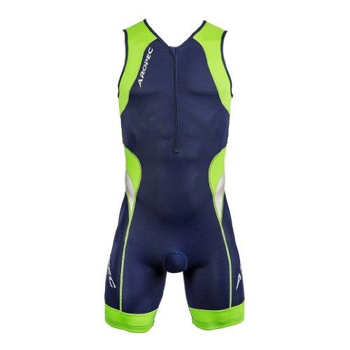 Aropec Lime - Lycra Sports Suit - triathlon Men Suit, Suit, Man, Navy / Lime Color, Large size
