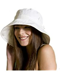 Ladies Wide Brim Sun Hat With Pleated Crown & Trim .One Size. UPF 50+ Colour Beige