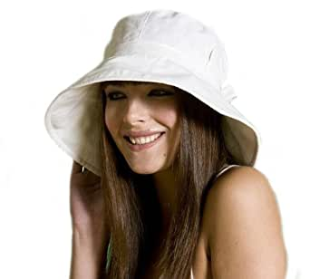 Ladies Wide Brim Sun Hat With Pleated Crown & Trim .One Size. UPF 50+ Colour Beige
