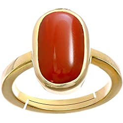 Gemorio Coral Moonga 6.5cts or 7.25ratti stone Panchdhatu Adjustable Ring For Men