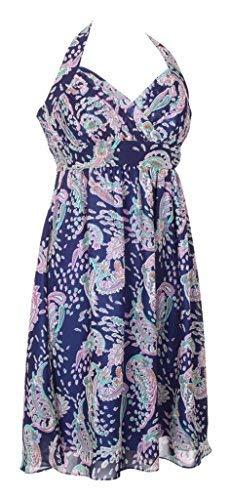 Kurz Smart Cocktail Kleid Knielang Neckholder Sommer Muster Kleider Empire Formale Bademantel für Damen Damen UK Gr. 34, Parsley Print Royal Blue Neckholder-kleid