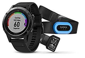 Garmin 010-01688-32 Fenix 5 Sapphire Wearable Performer Bundle/Premium HRM-Tri Brustgurt + Quick Fit grey/black 2017 bike computer with heart rate monitor