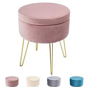 Zedelmaier Runder Sitzhocker Schminktisch Hocker Ottoman Gepolsterter Hocker Abnehmbarer Bezug Metallstütze (Pink)