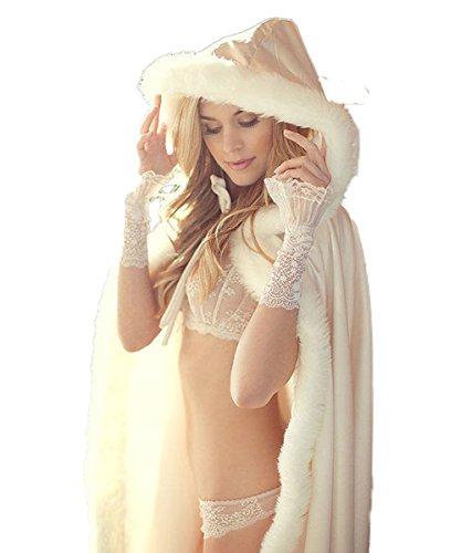 CoCogirls Warm Winter Pelz Lang Braut Mantel Bolero Umhang Brautstola Schal Stola für Brautkleid Hochzeitskleid Elfenbein