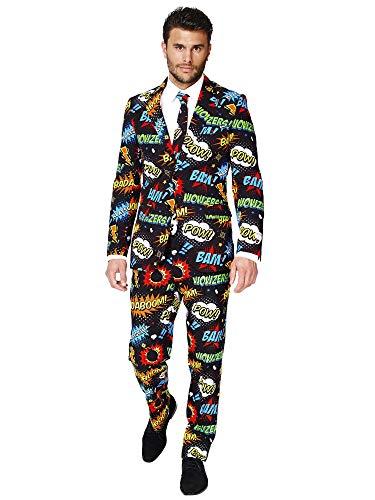OppoSuits Abschlussball kostüme für Herren - Badaboom - Mit Jackett, Hose und Krawatte mit Festlichen Print - EU50
