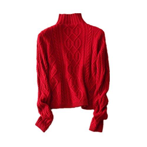 Damen Mode Kaschmir Pullover-Herbst und Winter Kaschmir Pullover (Rot, Small) (Kaschmir-pullover Roter)