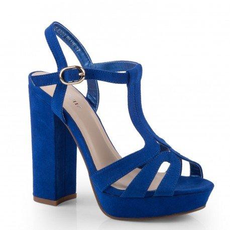 Ideal Shoes - Sandales à plateforme effet daim Delila Bleu