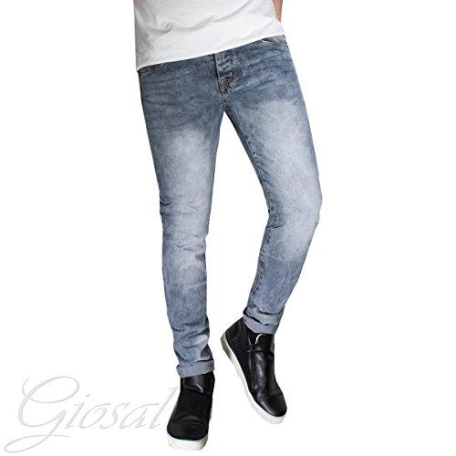 Pantalone Uomo Jeans Denim Cinque Tasche Zip Cerniera Bottone Sfumature Regolare Liscio GIOSAL Denim