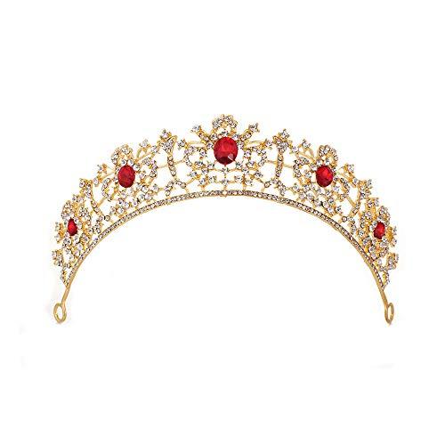 GHJSF Hochzeitskrone für Braut Prinzessin Krone Tiara Prom Queen Crown Quinceanera Festzug Kronen Prinzessin Crown Strass Crystal Bridal Crowns Diademe Accessoires Kopfschmuck (Color : Red)