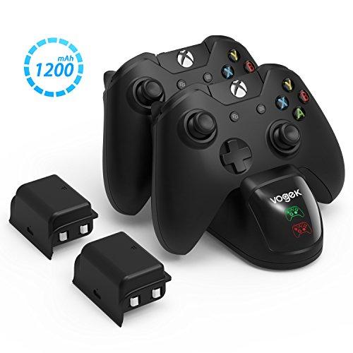 Station de recharge pour station d'accueil Vogek pour Xbox One / One S / Un contrôleur X / Xbox Elite, Station de chargement pour contrôleur Xbox One rapide avec 2 piles 1200mAh et câble de chargement micro USB, parfait pour les contrôleurs Xbox One / One S / One X