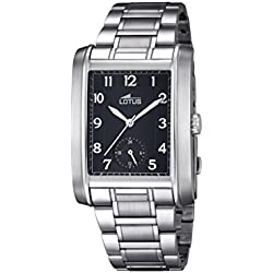 Lotus Men's Quartz Watch with Black Dial Analogue Display and Silver Stainless Steel Bracelet 18351/3