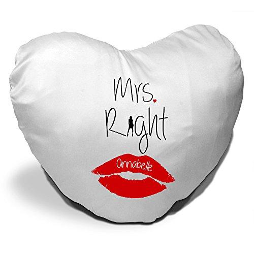 Herzkissen mit Namen Annabelle und schönem Mrs. Right - Motiv zum Valentinstag - Herzkissen personalisiert Kuschelkissen Schmusekissen -