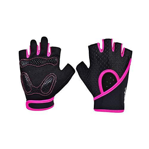 ZSJZHP Guanti da Fitness per Uomo e Donna, Guanti da Equitazione Outdoor ad Alta Elasticità e Alta traspirabilità, Allenamento Completo per Il Supporto del Polso, Sollevamento Pesi,Pink-L